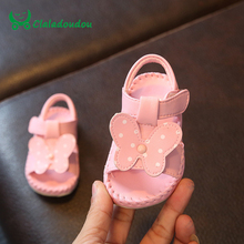 Claladoudou 11.5-13.5CM Baby Girl Sandals Cute Butterfly Soft Bottom Newborn Girls Shoes White Toddler Shoe Infant Baby Slippers