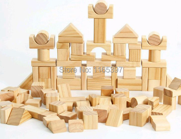 Free ship 1 Set of 100pc children kids natural Wooden build blocks Montessori sensorial early development  Educational material <br>