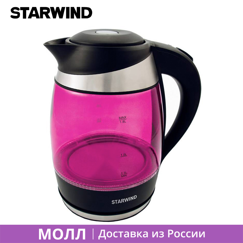 Starwind SKG2214 Electric Kettle 1.8L 2200W Safety Auto-Off Fuction Glass Underpan Quick Heating Kettle with Filter