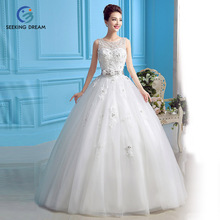 2016 Ivory White Ball Gown Dress One Shoulder Strapless Wedding Dress Flowers Lace Up Princess XL6180 Customize 2 4 8 10 12 +++(China)