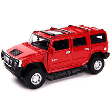 New 1:32 Hummer H2 SUV Model Car Toy Diecast Metal With Pull Back Musical Flashing For Kids Toy Birthday Gifts Free Shipping(China)