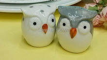 2015 Newest 100box=200pcs Inexpensive Wedding Souvenirs Owl Ceramic Salt and Pepper Shakers Festive Favors(China)
