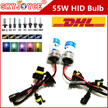 50 X DHL Wholesale 55W HID bulb H11 H10 9005 9006 H7 hid H4 blue green H3 yellow 3000K hid xenon lamp H1 4300K-12000K cheap HID(China)