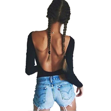 2017 Summer 95% Cotton Backless Sexy Womens Jumpsuits Solid Black Rompers Female nude bodysuit top playsuits Negro Active T0484(China)
