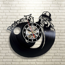 "Free Shipping 1Piece 3D Pokemon Vinyl Record Wall Clock Wall Art Vintage 12"" LP Record Clocks Cartoon Wall Time Clock For Kids"