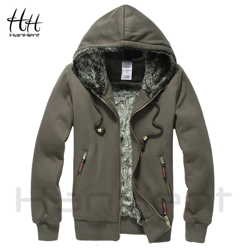 HanHent Super Thickened Brand Men Coats Faux Fur Fashion Mens Tracksuit Wear Polo Hoodie Winter Sweatshirt AG0014 6