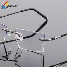 a4806c145c XINZE Fashion Titanium Eyeglass Diamond Trimming Cutting Rimless Eyeglasses  Prescription Optical Glasses Frame for Men Eyewear