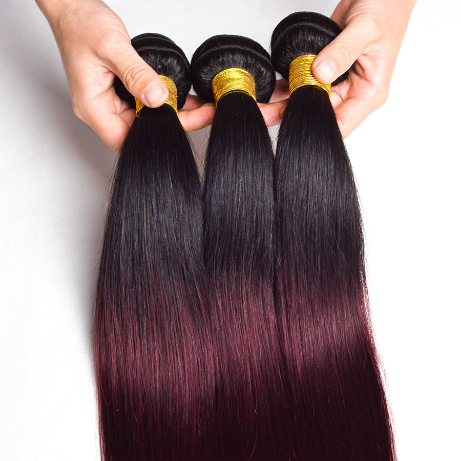 Wonder girl Ombre Brazilian Straight Hair 1B 99J/Burgundy Two Tone Human Hair Bundles 1PC Non Remy Hair Free Shipping