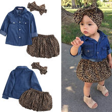 Pudcoco 2017 New 3PC Toddler Baby Girls Dress denim shirt Leopard skirt headband Kids Clothes sets