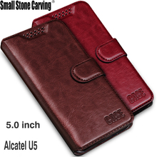 "For Alcatel U5 Case 5.0"" Luxury Wallet PU Leather Back Cover Phone Case For Alcatel U5 5047D 5047Y Case Flip Protective(China)"