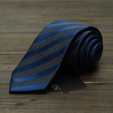 High Quality New Navy Blue Striped Ties for Men 7cm Designer Fashion Brand Necktie Office Work Interview Suit Mens Formal Tie(China)