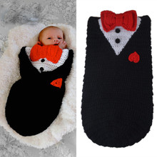 New Newborn Baby Photography Photo Props Popular Black Gentleman Suit Design Knitted Crochet Boys Sleep Bag Baby Shower Gift(China)