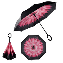 Creative Windproof Reverse Folding Pongee Double Layer Inverted Chuva 8 Rib Umbrella Self Stand Inside Out Rain Protection