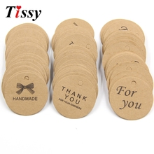 100PCS DIY Kraft Paper Tags Handmade&Thank You Head Label Luggage Wedding Party Note Tag Hang Tag Kraft Gifts(China)