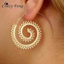 Crazy Feng Gold Silver Color Geometric Swirl Big Hoop Earring for Women Brincos 2017 Fashion Steampunk Party Jewelry Accesories(China)