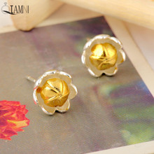 QIAMNI 925 Sterling Silver Beautiful Yellow Bud Flower Stud Earring for Women Girls Christmas Handmade Jewelry Kid Pendientes