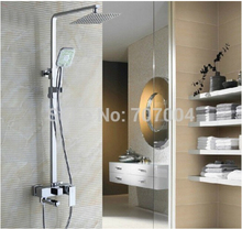 "Wall Mount Shower Faucet System with 8"" Ultrathin Showerhead ABS Handshower Adjust Height / Swivel Bathtub"