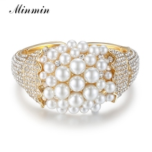 Minmin Wide Gold Color Crystal Bangle Synthetic Pearl Bracelet Female Brides Charm Bracelet Adjustable Wedding Jewelry MSL324