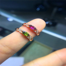 2017 Natural tourmaline Ring 925 Sterling Silver Gemstone Jewelry Women Fine Jewelry Green Charm ring Mariques horse eye