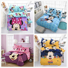 Hello Kitty Mickey Winnie Cartoon Creativity British style 4pcs/3pcs Duvet Cover Sets Soft Polyester Bed Linen Flat Bed Sheet