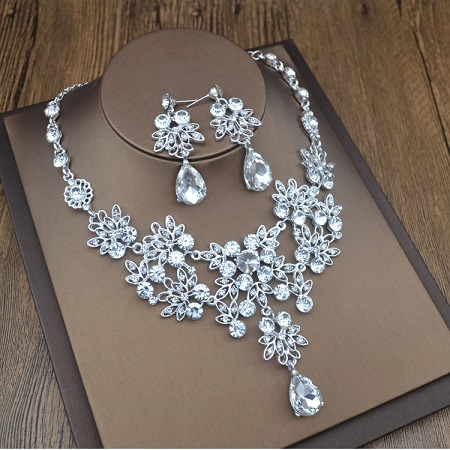 Bridal Wedding Jewelry Set Rhinestone Tiara Necklace Earrings for Brides Bridesmaids (1)