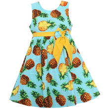 Shybobbi New Hot Girls Dress Blue Pineapple Print Bow Dresses Cotton Linen Party Pageant Kids Clothing Size 6-14(China)