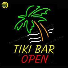 Neon Sign Tiki Bar Open neon signs bar Neon Lamp Glass Tube Affiche Neon Bulb Handcrafted Recreation Home Room Iconic Sign 19x15(China)