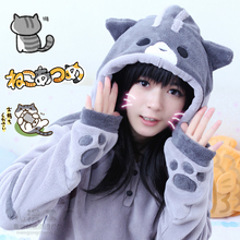 2016 New Design Game Neko Atsume Cosplay Costume Hoodie Woman Cute Cat Thicken Flannel Hooded Sweatershirts Winter Coat Jacket(China)