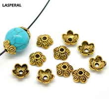 LASPERAL 100PCs Ancient Gold Tone Flower Bead Caps Bracelet & Necklace DIY Jewelry Findings Fit Beads Jewelry Accessories 10x4mm(China)