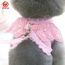 Pet leash angle dog leads puppy rhinestone harness dog accessories for small dogs XS-L size cute animal leash rope ZL289(China)
