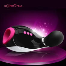 7 Speed Bluetooth Male Masturbator Cup Oral Sucking Flashlight Girl Realistic Vagina Artificial Pussy Sex Product for Man(China)