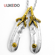 100% Pure 925 Sterling Silver Pendant Fashion Charms Takahashi Goros Eagle Feather Chain Jewelry Necklace New Popular Gift