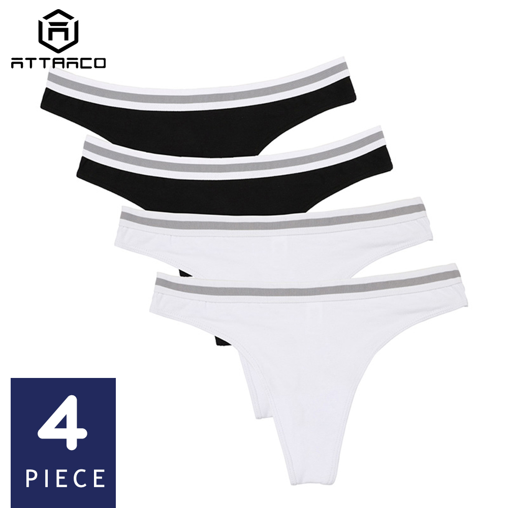 ATTRACO Women's Thong Underwear String Panties Tanga Briefs Cotton 4 Pack