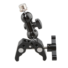 "CAMVATE Crab Clamp with 5/8""-27 Screw Double Ball Head Mount (Black T-handle)"