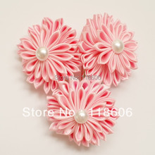 Hot Sale  70pcs/lot Satin Kanzashi Flower Hair Flowers Japanese Hair Fascinator WITHOUT CLIP Free Shipping