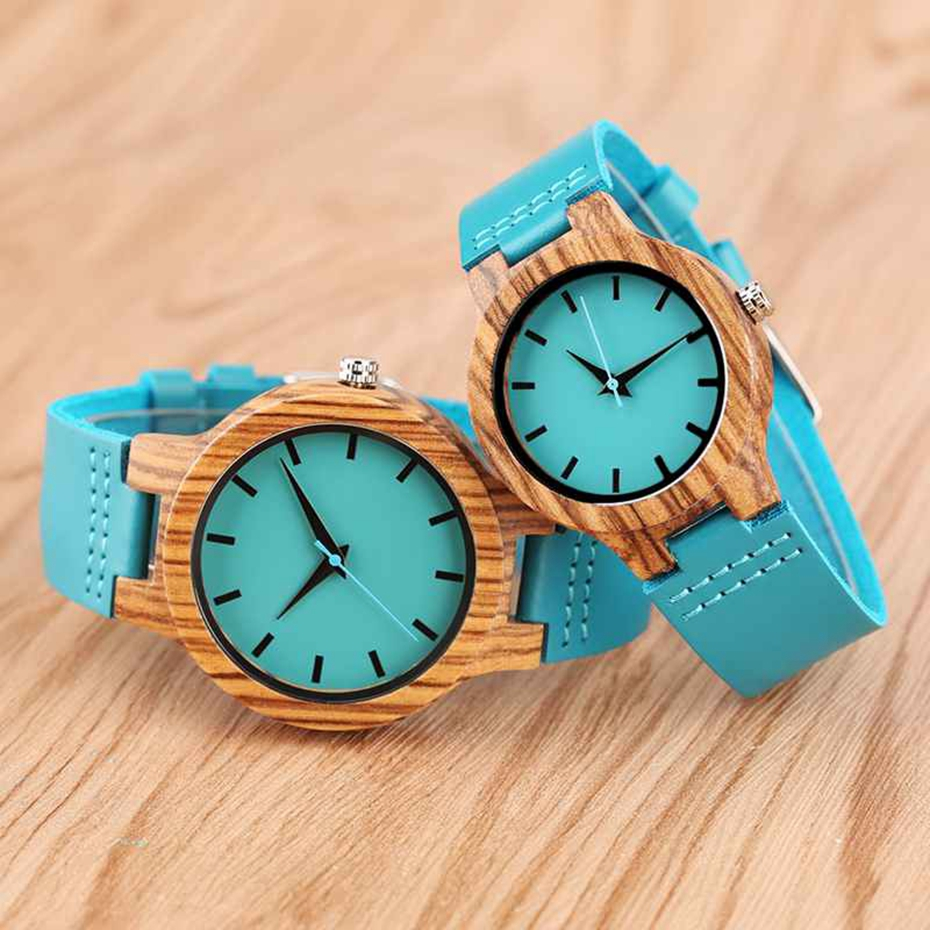 Fashion Blue Wooden Bamboo Quartz-watch Natural Wood Wristwatch Genuine Leather Creative Xmas Gift for Men Women Reloj de madera 2017 2018 (16)
