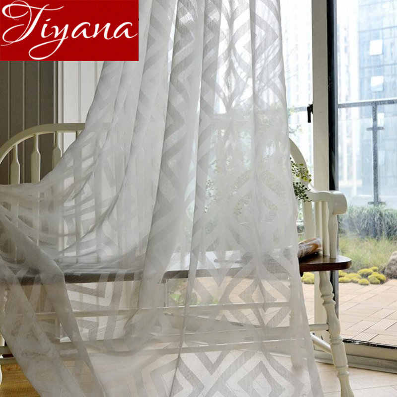 White Curtains for Modern Window Living Room Geometric Jacquard Tulle Curtain Treatment Kitchen Fabrics Sheer Cortinas X364 #30