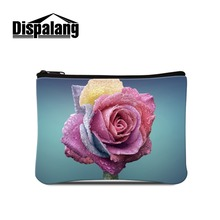 Dispalang Floral Coin Purse with Zipper Cute Coin Pouch Flower Stretch clutch bags for Women Shopping Cheap Small Coin Case girl(China)
