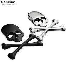 1PC NEW Cool 3D Skull Metal Skeleton Crossbones Motorcle Car Sticker Label Skull Emblem Badge Car Styling Stickers Accessories
