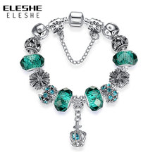 ELESHE Original 925 Spacer Silver Heart Charm Bracelet Fit Original Bracelet for Women DIY Crystal&Glass Beads Authentic Jewelry(China)