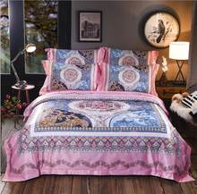 Boho jacquard silk bedding sets queen king size 4pcs Royal Luxury duvet cover bed sheet pillowcase Digital printing Home Textile(China)