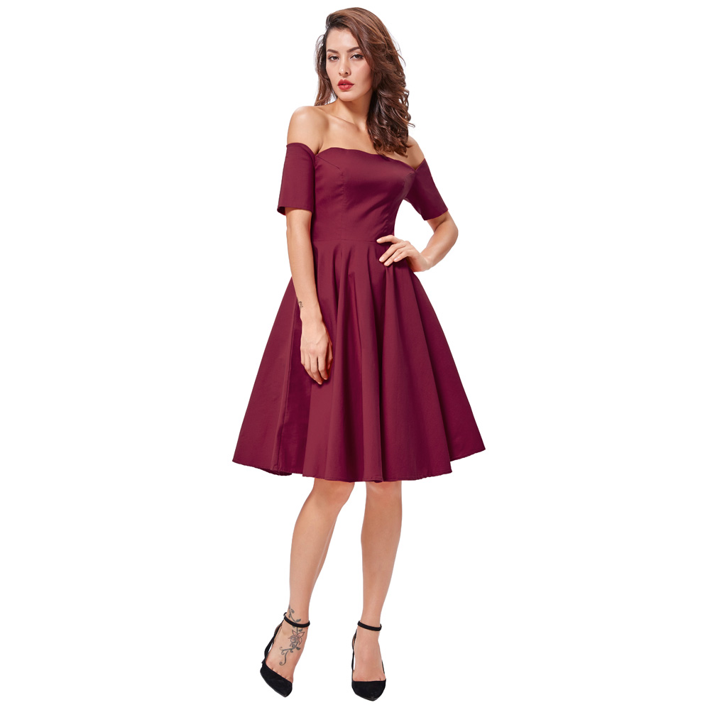 Belle Poque 17 Women Dress Robe Vintage Off Shoulder Black Summer Dress Jurken 1950s 60s Retro Rockabilly Swing Party Dresses 28