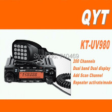 DHL Freeshipping+NEW QYT KT-UV980 Dual Band VHF UHF 136-174&400-480mhz Mobile Long Range Walkie Talkie Two Way Radio KT UV980