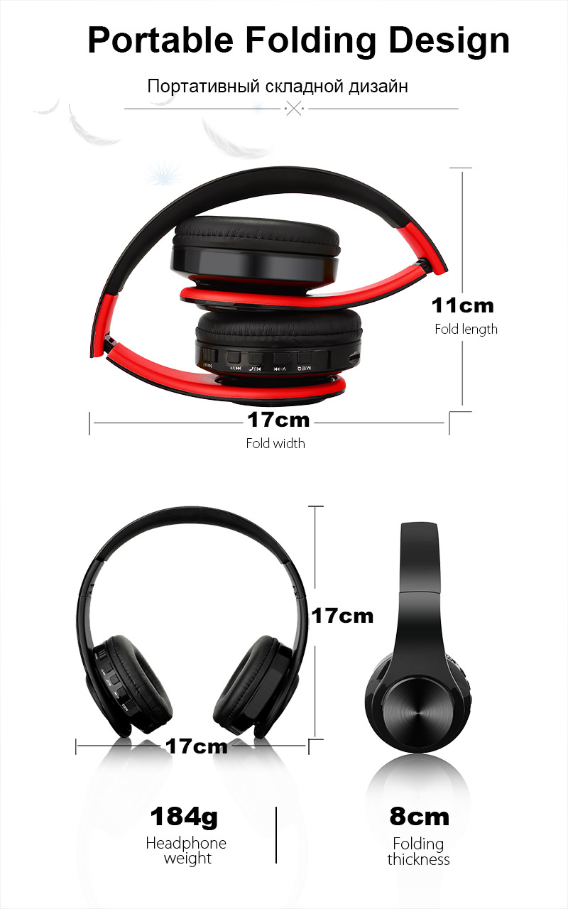 TOMKAS Bluetooth Headphones WIreless Stereo Earphones Foldable Headsets Adjustable Earbuds With Mic TF Card For With Microphone