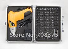 "New 4.8V 6.35mm(1/4"") Hex Bit Shank Electric screwdriver Cordless screwdriver + 102pc bit set with Aluminum box Fast shipping CE"