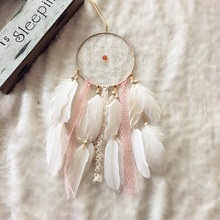 "FC500 1 Loop 15cm Pink Dream Catcher Circular Net with Feathers Dream Catcher Beaded Long 16"" Ornament Gift Free shipping"