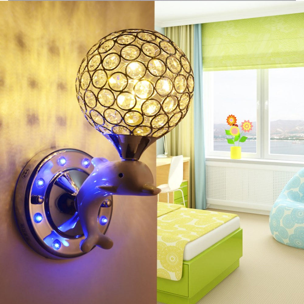Led Creative Bedroom Bedside Living Room Lamp Simple Modern Cartoon Resin Dolphin Crystal Childrens Room Wall Lamp<br><br>Aliexpress