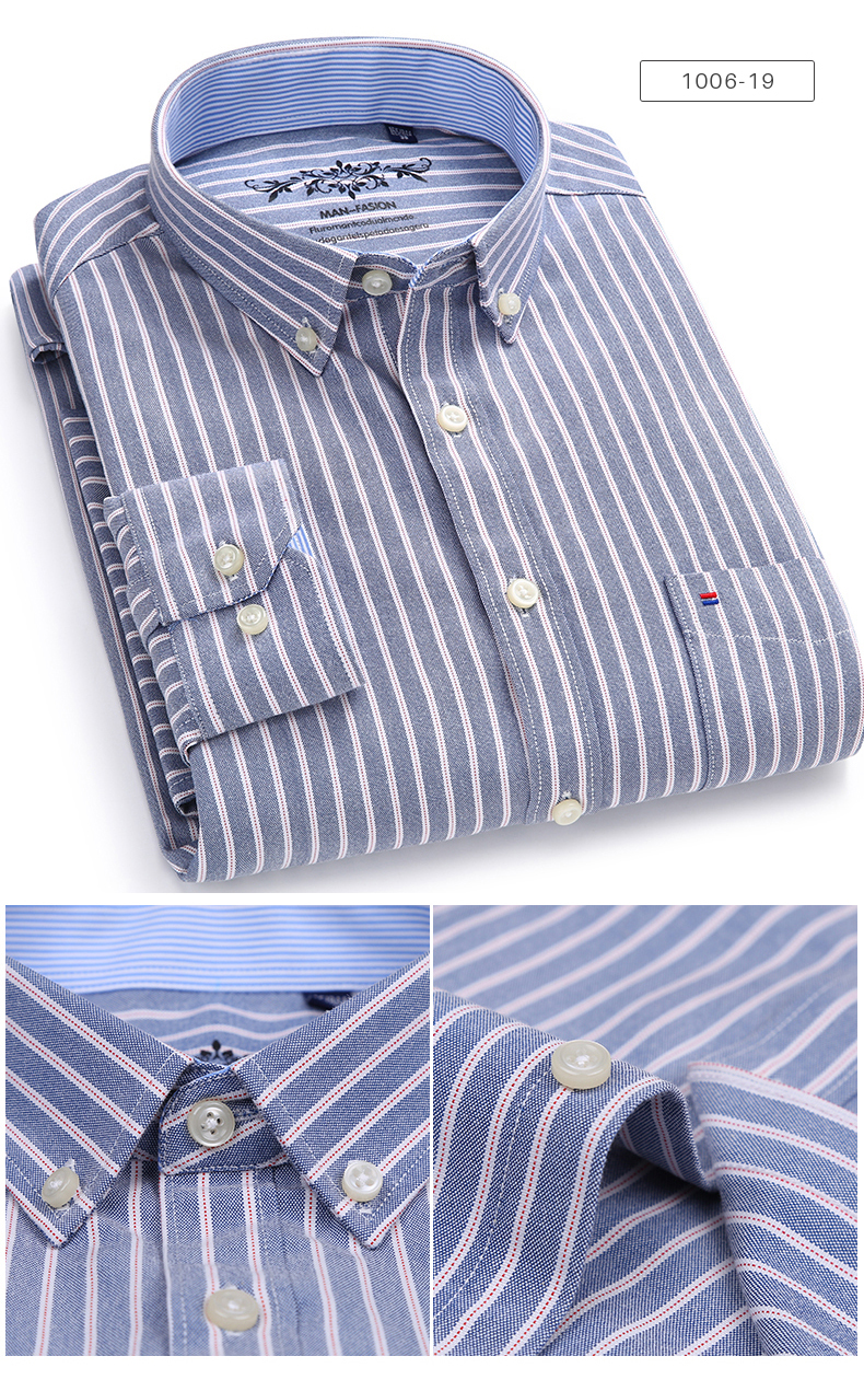 Men's Long Sleeve Contrast Plaid/Striped Oxford Dress Shirt with Left Chest Pocket Male Casual Slim-fit Buttoned Down Shirts 5