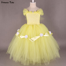 Beauty and Beast Belle Princess Dress Yellow,Red Flower Girl Tutu Dress Tulle Kids Girl Birthday Party Dress Halloween Costume(China)