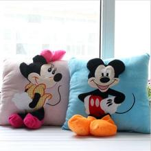 2pcs 35*35cm Mickey Mouse and Minnie plush Pillow Cushion,Cartoon Mickey Mouse and Minnie Pillow Car Cushion Free Shipping